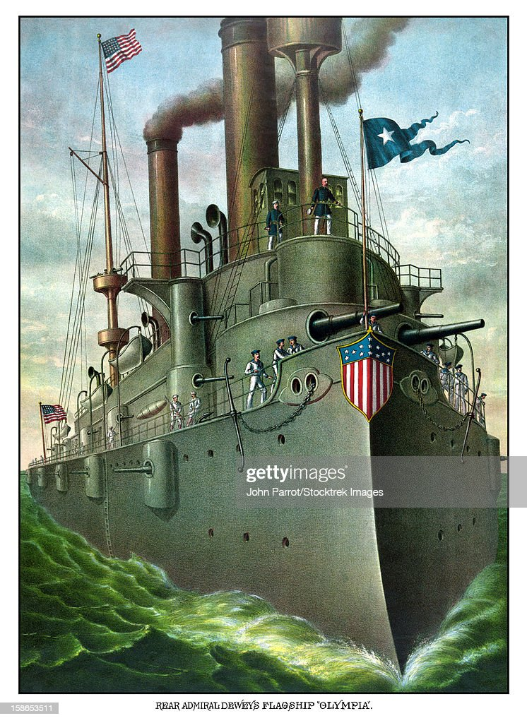 Vintage American History print of Admiral George Dewey standing on his flagship, the Olympia. It reads, Rear Admiral Dewey's Flagship Olympia. : Stock Illustration