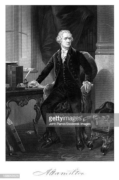 vintage american history print of alexander hamilton sitting at his desk,with signature at bottom. - alexander hamilton stock illustrations