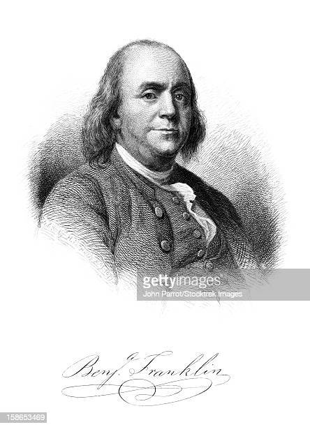 vintage american history print of  benjamin franklin and his signature. - benjamin franklin stock illustrations, clip art, cartoons, & icons