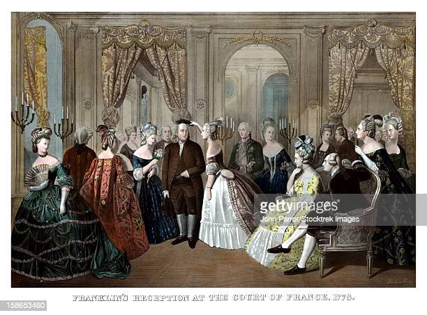 vintage american history print of benjamin franklin's reception by the french court. it reads, franklin's reception at the court of france, 1778. - benjamin franklin stock illustrations, clip art, cartoons, & icons