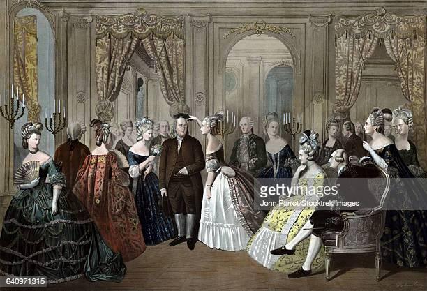 ilustrações, clipart, desenhos animados e ícones de vintage american history print of benjamin franklins reception by the french court. - american revolution