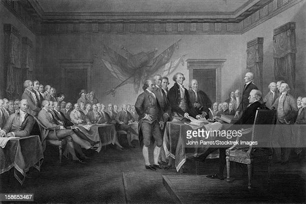 vintage american history print of leaders of congress. - declaration of independence stock illustrations