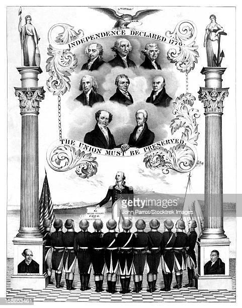 ilustrações, clipart, desenhos animados e ícones de vintage american history print of the first eight presidents of the united states. - american revolution