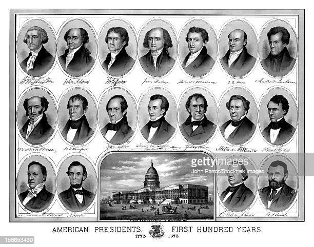 vintage american history print of the first eighteen presidents of the united states. - us president stock illustrations