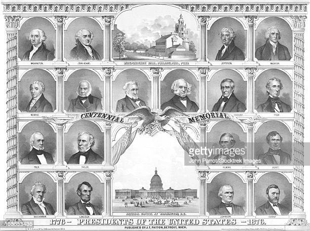 vintage american history print of the first eighteen presidents of the united states. - us president stock illustrations, clip art, cartoons, & icons