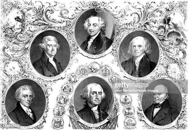 ilustrações, clipart, desenhos animados e ícones de vintage american history print showing the first six presidents of the united states. - thomas jefferson