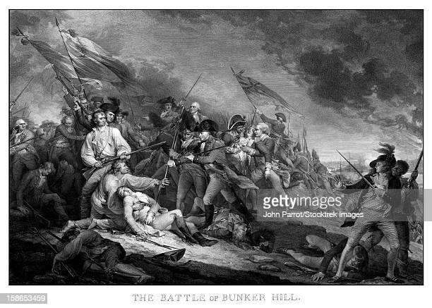 ilustrações, clipart, desenhos animados e ícones de vintage american revolutionary war print of the battle of bunker hill. - american revolution