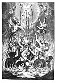 Vintage Antique Religious Allegorical Drawing or Engraving of People or Souls Suffering in Fire of Hell and Angels Showing Them the Way to Heaven by Sacrifice of Jesus