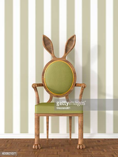 Vintage armchair with rabbit ears in front of striped wallpaper, 3D Rendering
