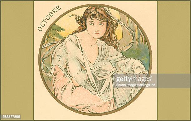Vintage Art Nouveau illustration of a young woman with flowing hair and clothing sitting amidst trees 'Octobre' 1900s