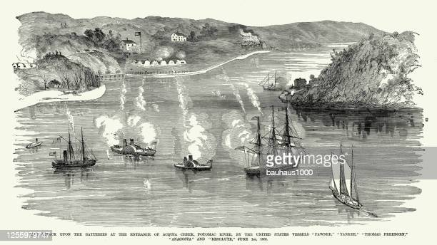 vintage attack upon the batteries at the entrance of acqua creek, potomac river, by various united states vessels, june 1, 1861, civil war engraving - us military stock illustrations