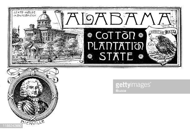 Vintage banner with emblem and landmark of Alabama, portrait of Bienville