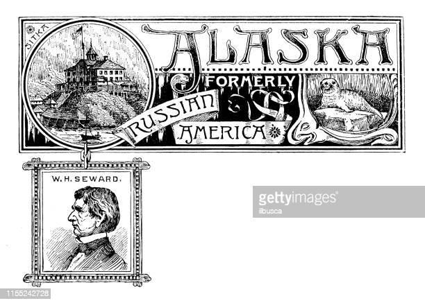 Vintage banner with emblem and landmark of Alaska, portrait of W H Seward