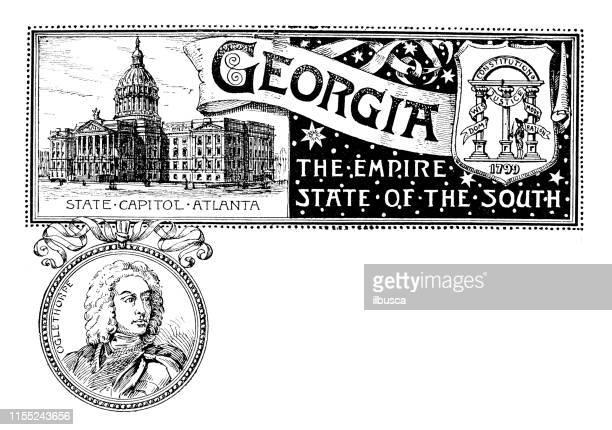 ilustraciones, imágenes clip art, dibujos animados e iconos de stock de banner vintage con emblema y hito de georgia, retrato de oglethorpe - georgia estado de eeuu