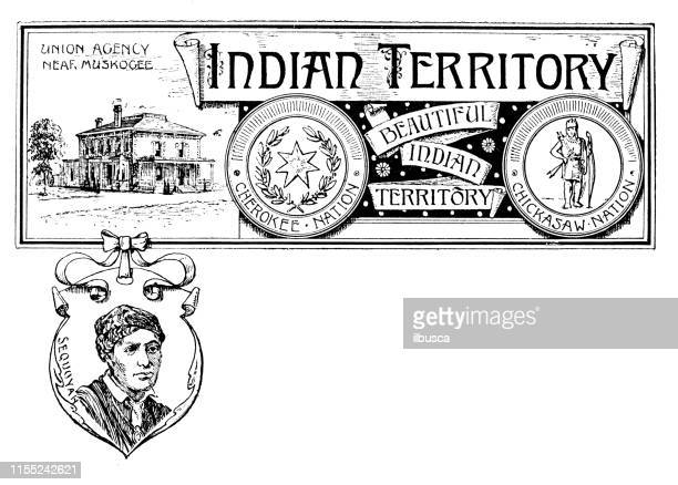 vintage banner with emblem and landmark of indian territory, portrait of sequoyah - cherokee culture stock illustrations, clip art, cartoons, & icons