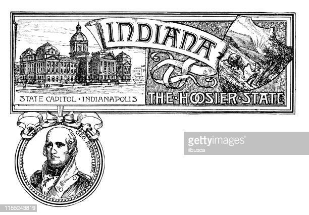 vintage banner with emblem and landmark of indiana, portrait of rogers clark - indianapolis stock illustrations, clip art, cartoons, & icons