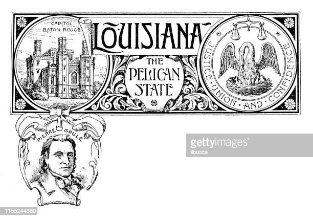 vintage banner with emblem and landmark of louisiana, portrait of pierre soule - pelican stock illustrations