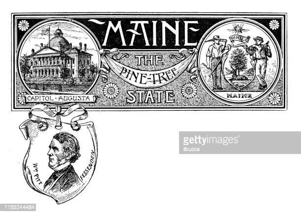 vintage banner with emblem and landmark of maine, portrait of pitt fessenden - augusta maine stock illustrations