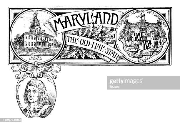 vintage banner with emblem and landmark of maryland, portrait of lord baltimore - annapolis stock illustrations