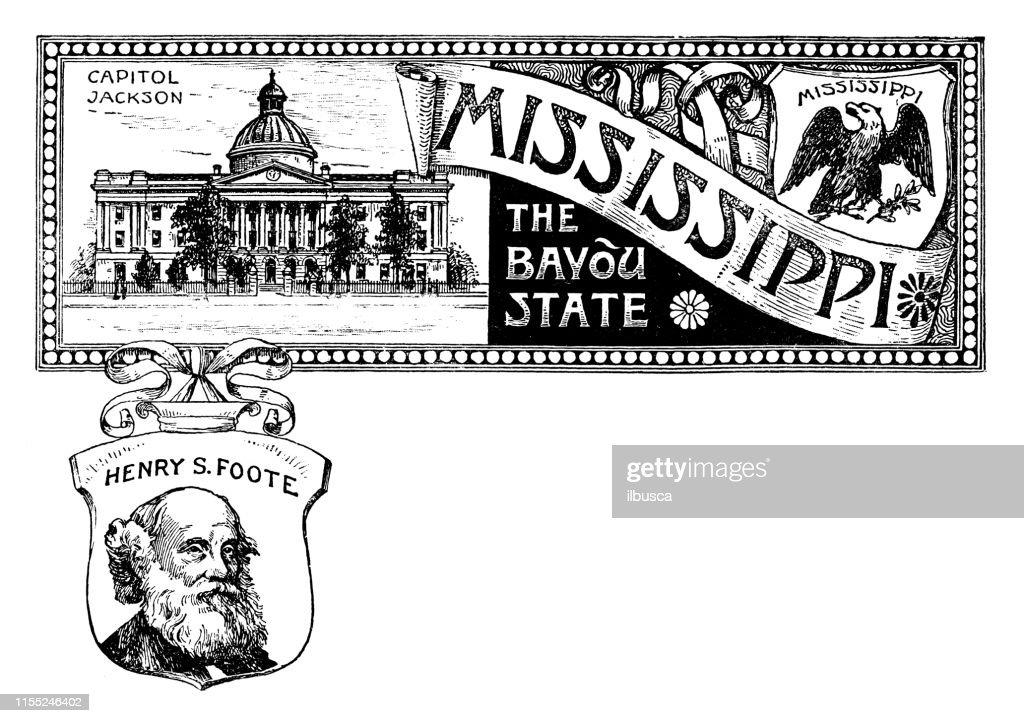 Vintage Banner With Emblem And Landmark Of Mississippi Portrait Of ...
