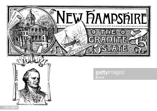 vintage banner with emblem and landmark of new hampshire, portrait of gen starr - new hampshire stock illustrations