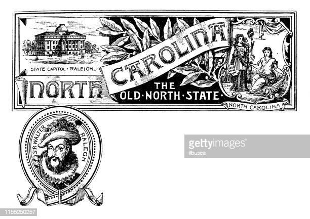 bildbanksillustrationer, clip art samt tecknat material och ikoner med vintage banner med emblem och landmärke i north carolina, porträtt av walter ralegh - north carolina amerikansk delstat