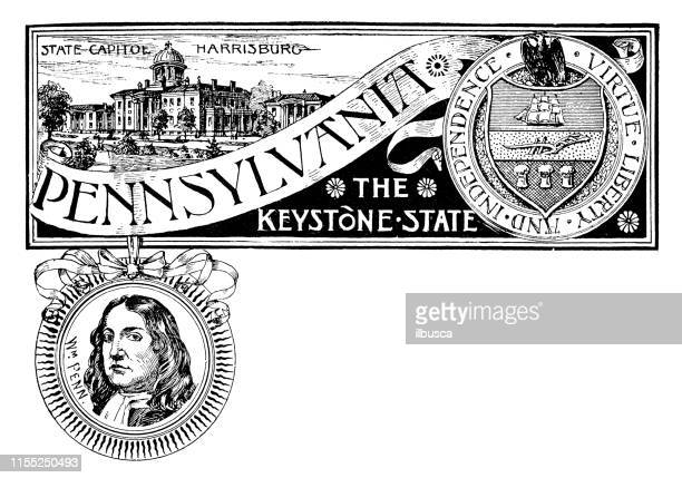 vintage banner with emblem and landmark of pennsylvania, portrait of penn - architectural feature stock illustrations