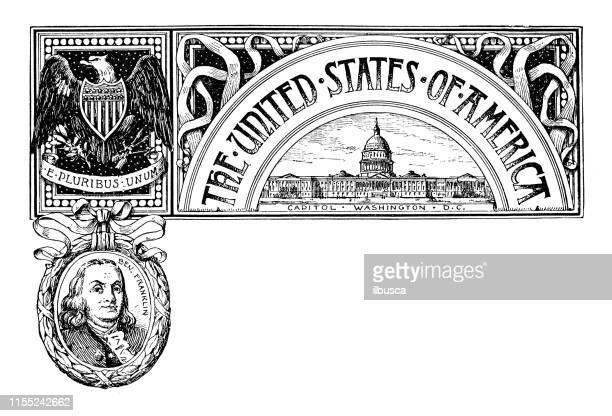 Vintage banner with emblem and landmark of USA, portrait of Benjamin Franklin