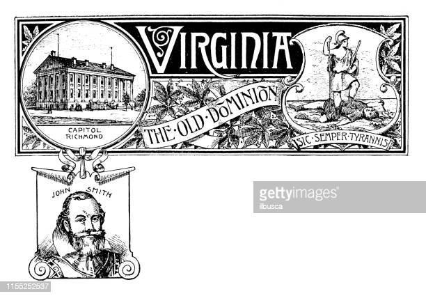 ilustrações de stock, clip art, desenhos animados e ícones de vintage banner with emblem and landmark of virginia, portrait of john smith - virgínia estado dos eua