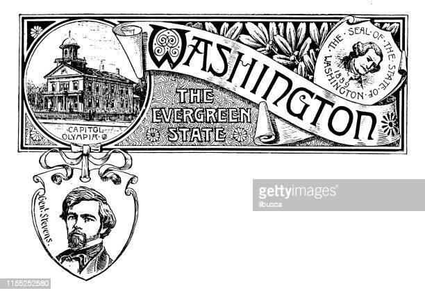 vintage banner with emblem and landmark of washington, portrait of stevens - washington state stock illustrations