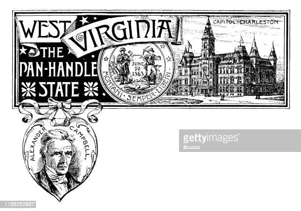 vintage banner with emblem and landmark of west virginia, portrait of alexander campbell - west virginia us state stock illustrations