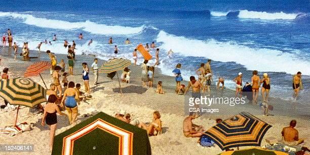 vintage beach scene - beach holiday stock illustrations, clip art, cartoons, & icons