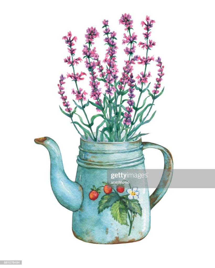 Vintage Blau Metall Teekanne Mit Erdbeeren Muster Und Lavendel