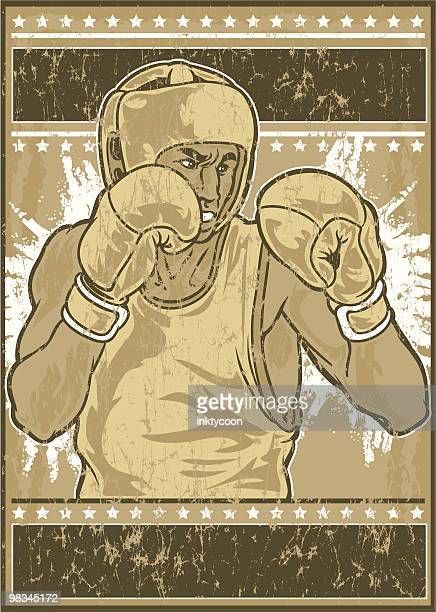 vintage boxer - fighting stance stock illustrations, clip art, cartoons, & icons