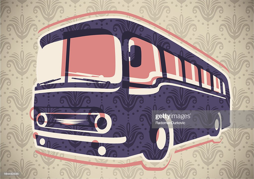 Vintage bus illustration.