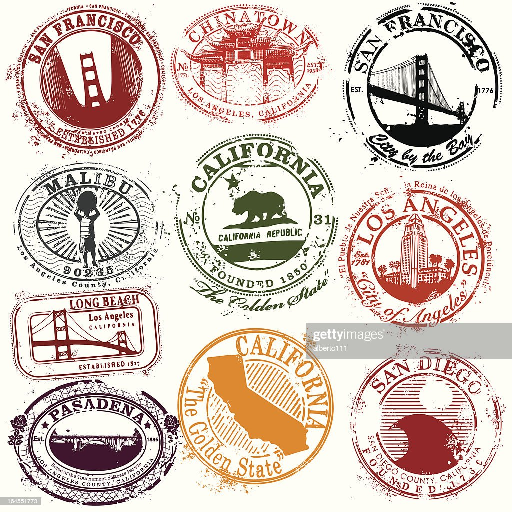 Vintage California Travel Stamps