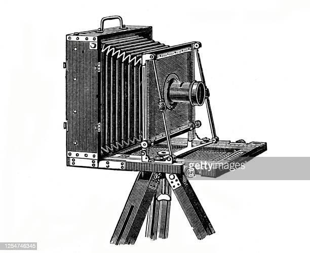 vintage camera - photographic equipment stock illustrations