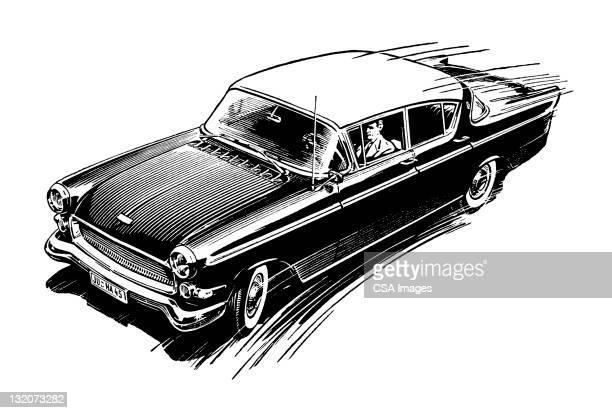 vintage car - studio shot stock illustrations, clip art, cartoons, & icons