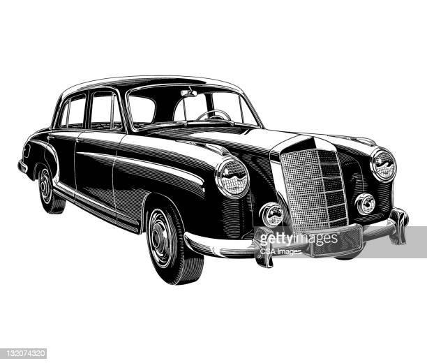 vintage car - sedan stock illustrations, clip art, cartoons, & icons
