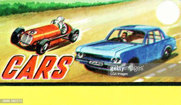 vintage cars racing - heroes stock illustrations