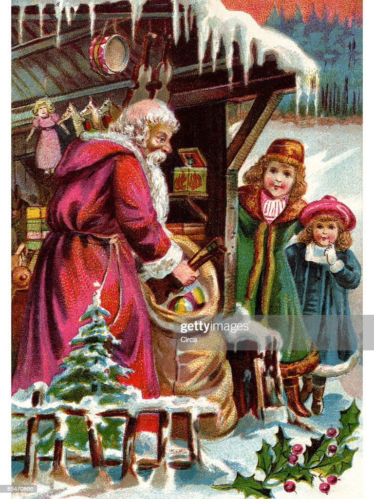 vintage christmas card of santa claus delivering gifts to two girls stock illustration - Vintage Christmas Gifts