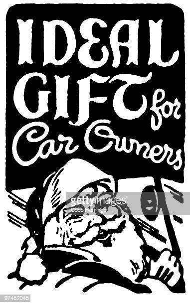 stockillustraties, clipart, cartoons en iconen met a vintage christmas inspired card - classic car christmas