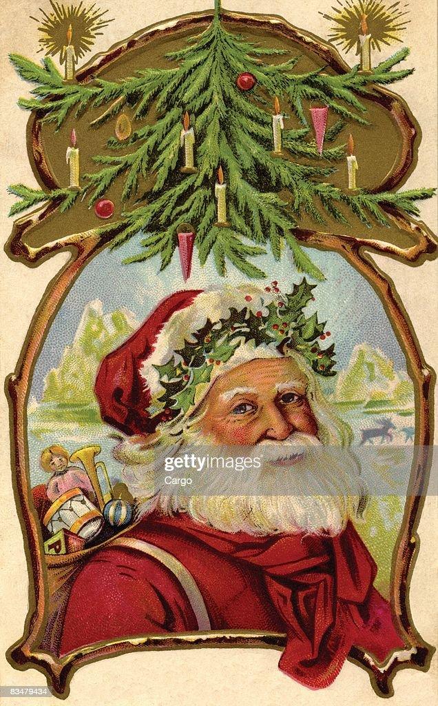 Vintage Christmas Illustrations.Vintage Christmas Postcard Of Santa Claus Carrying A Sack Of
