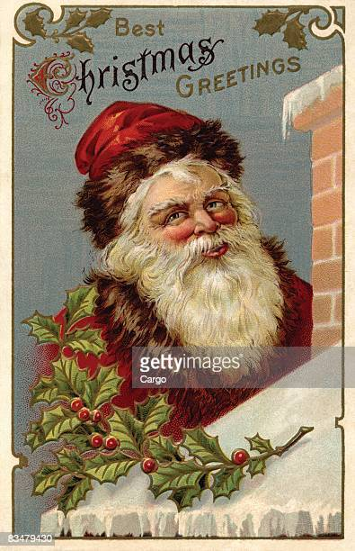 Vintage Christmas postcard of Santa Claus climbing the roof of a house
