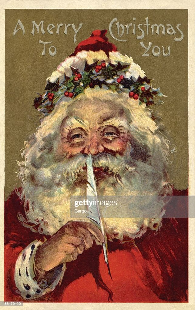Vintage Christmas Illustrations.Vintage Christmas Postcard Of Santa Claus Holding A Feather