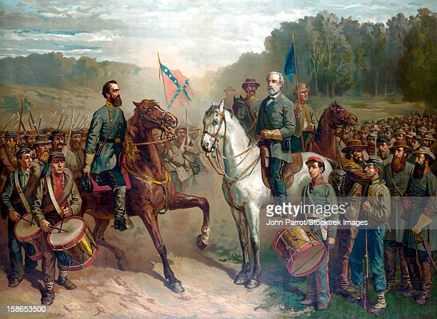 Vintage Civil War color painting of General Robert E. Lee and General Thomas Stonewall Jackson, on horseback at there last meeting.