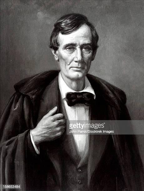 Vintage Civil War era print of President Abraham Lincoln wearing an overcoat.