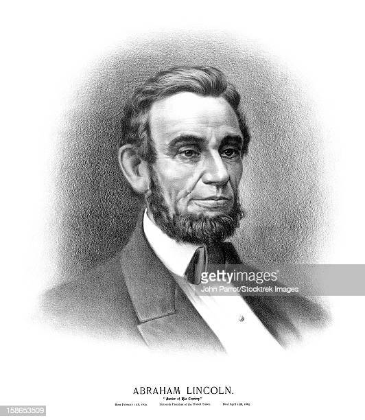 Vintage Civil War era print of the bust of President Abraham Lincoln. It reads, Abraham Lincoln, Savior Of His Country, Born February 12th, 1809, Sixteenth President of the United States, Died April 15th, 1865.