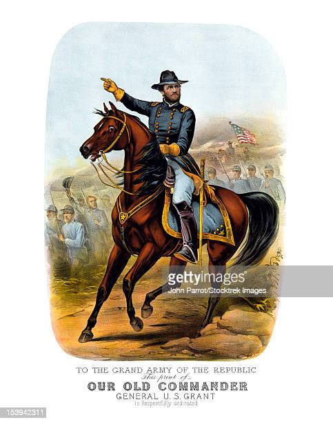 vintage civil war poster of general ulysses s. grant on horseback. - cavalry stock illustrations
