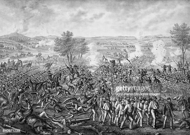 vintage civil war print featuring the battle of gettysburg. - battle of gettysburg stock illustrations